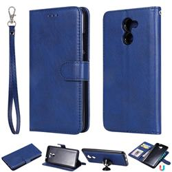 Retro Greek Detachable Magnetic PU Leather Wallet Phone Case for Huawei Y7(2017) - Blue