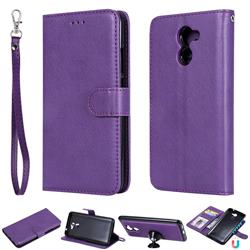 Retro Greek Detachable Magnetic PU Leather Wallet Phone Case for Huawei Y7(2017) - Purple