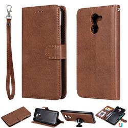 Retro Greek Detachable Magnetic PU Leather Wallet Phone Case for Huawei Y7(2017) - Brown