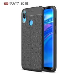 Luxury Auto Focus Litchi Texture Silicone TPU Back Cover for Huawei Y7(2019) / Y7 Prime(2019) / Y7 Pro(2019) - Black
