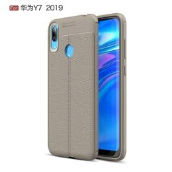 Luxury Auto Focus Litchi Texture Silicone TPU Back Cover for Huawei Y7(2019) / Y7 Prime(2019) / Y7 Pro(2019) - Gray