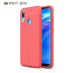Luxury Auto Focus Litchi Texture Silicone TPU Back Cover for Huawei Y7(2019) / Y7 Prime(2019) / Y7 Pro(2019) - Red