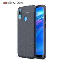 Luxury Auto Focus Litchi Texture Silicone TPU Back Cover for Huawei Y7(2019) / Y7 Prime(2019) / Y7 Pro(2019) - Dark Blue