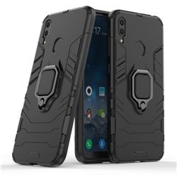 Black Panther Armor Metal Ring Grip Shockproof Dual Layer Rugged Hard Cover for Huawei Y7(2019) / Y7 Prime(2019) / Y7 Pro(2019) - Black