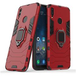Black Panther Armor Metal Ring Grip Shockproof Dual Layer Rugged Hard Cover for Huawei Y7(2019) / Y7 Prime(2019) / Y7 Pro(2019) - Red