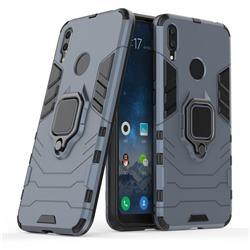Black Panther Armor Metal Ring Grip Shockproof Dual Layer Rugged Hard Cover for Huawei Y7(2019) / Y7 Prime(2019) / Y7 Pro(2019) - Blue