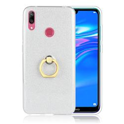 Luxury Soft TPU Glitter Back Ring Cover with 360 Rotate Finger Holder Buckle for Huawei Y7(2019) / Y7 Prime(2019) / Y7 Pro(2019) - White
