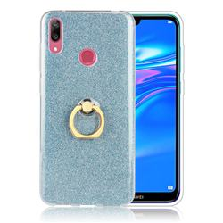 Luxury Soft TPU Glitter Back Ring Cover with 360 Rotate Finger Holder Buckle for Huawei Y7(2019) / Y7 Prime(2019) / Y7 Pro(2019) - Blue