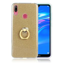 Luxury Soft TPU Glitter Back Ring Cover with 360 Rotate Finger Holder Buckle for Huawei Y7(2019) / Y7 Prime(2019) / Y7 Pro(2019) - Golden