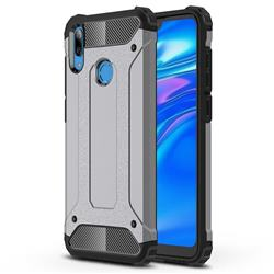 King Kong Armor Premium Shockproof Dual Layer Rugged Hard Cover for Huawei Y7(2019) / Y7 Prime(2019) / Y7 Pro(2019) - Silver Grey