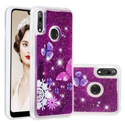 Purple Flower Butterfly Dynamic Liquid Glitter Quicksand Soft TPU Case for Huawei Y7(2019) / Y7 Prime(2019) / Y7 Pro(2019)