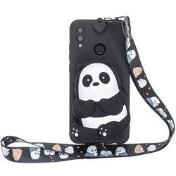 Cute Panda Neck Lanyard Zipper Wallet Silicone Case for Huawei Y7(2019) / Y7 Prime(2019) / Y7 Pro(2019)