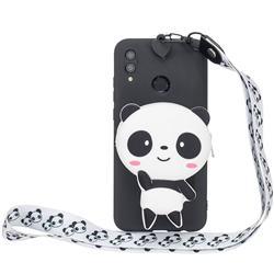 White Panda Neck Lanyard Zipper Wallet Silicone Case for Huawei Y7(2019) / Y7 Prime(2019) / Y7 Pro(2019)