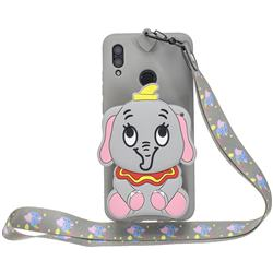 Gray Elephant Neck Lanyard Zipper Wallet Silicone Case for Huawei Y7(2019) / Y7 Prime(2019) / Y7 Pro(2019)