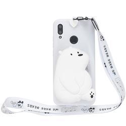 White Polar Bear Neck Lanyard Zipper Wallet Silicone Case for Huawei Y7(2019) / Y7 Prime(2019) / Y7 Pro(2019)