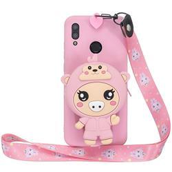 Pink Pig Neck Lanyard Zipper Wallet Silicone Case for Huawei Y7(2019) / Y7 Prime(2019) / Y7 Pro(2019)