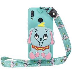 Blue Elephant Neck Lanyard Zipper Wallet Silicone Case for Huawei Y7(2019) / Y7 Prime(2019) / Y7 Pro(2019)