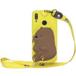 Yellow Bear Neck Lanyard Zipper Wallet Silicone Case for Huawei Y7(2019) / Y7 Prime(2019) / Y7 Pro(2019)