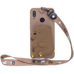 Brown Bear Neck Lanyard Zipper Wallet Silicone Case for Huawei Y7(2019) / Y7 Prime(2019) / Y7 Pro(2019)