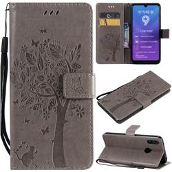 Embossing Butterfly Tree Leather Wallet Case for Huawei Y7(2019) / Y7 Prime(2019) / Y7 Pro(2019) - Grey