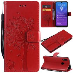 Embossing Butterfly Tree Leather Wallet Case for Huawei Y7(2019) / Y7 Prime(2019) / Y7 Pro(2019) - Red