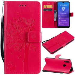 Embossing Butterfly Tree Leather Wallet Case for Huawei Y7(2019) / Y7 Prime(2019) / Y7 Pro(2019) - Rose