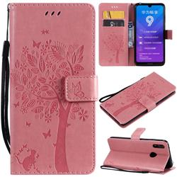 Embossing Butterfly Tree Leather Wallet Case for Huawei Y7(2019) / Y7 Prime(2019) / Y7 Pro(2019) - Pink