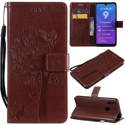 Embossing Butterfly Tree Leather Wallet Case for Huawei Y7(2019) / Y7 Prime(2019) / Y7 Pro(2019) - Coffee