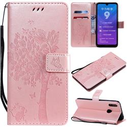 Embossing Butterfly Tree Leather Wallet Case for Huawei Y7(2019) / Y7 Prime(2019) / Y7 Pro(2019) - Rose Pink