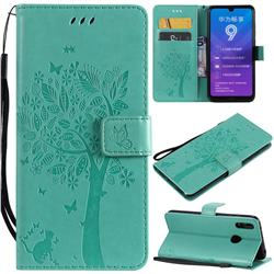 Embossing Butterfly Tree Leather Wallet Case for Huawei Y7(2019) / Y7 Prime(2019) / Y7 Pro(2019) - Cyan