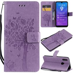 Embossing Butterfly Tree Leather Wallet Case for Huawei Y7(2019) / Y7 Prime(2019) / Y7 Pro(2019) - Violet