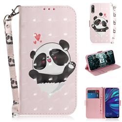 Heart Cat 3D Painted Leather Wallet Phone Case for Huawei Y7(2019) / Y7 Prime(2019) / Y7 Pro(2019)