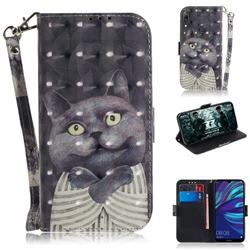 Cat Embrace 3D Painted Leather Wallet Phone Case for Huawei Y7(2019) / Y7 Prime(2019) / Y7 Pro(2019)