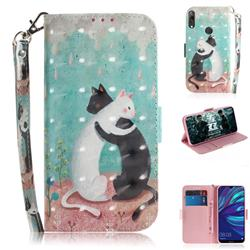 Black and White Cat 3D Painted Leather Wallet Phone Case for Huawei Y7(2019) / Y7 Prime(2019) / Y7 Pro(2019)