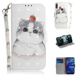 Cute Tomato Cat 3D Painted Leather Wallet Phone Case for Huawei Y7(2019) / Y7 Prime(2019) / Y7 Pro(2019)