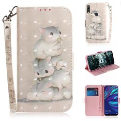 Three Squirrels 3D Painted Leather Wallet Phone Case for Huawei Y7(2019) / Y7 Prime(2019) / Y7 Pro(2019)