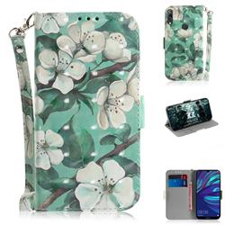 Watercolor Flower 3D Painted Leather Wallet Phone Case for Huawei Y7(2019) / Y7 Prime(2019) / Y7 Pro(2019)