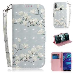 Magnolia Flower 3D Painted Leather Wallet Phone Case for Huawei Y7(2019) / Y7 Prime(2019) / Y7 Pro(2019)