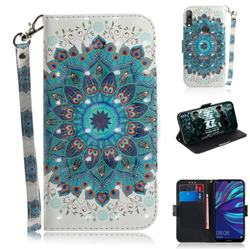 Peacock Mandala 3D Painted Leather Wallet Phone Case for Huawei Y7(2019) / Y7 Prime(2019) / Y7 Pro(2019)