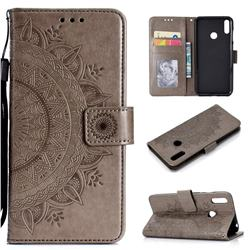 Intricate Embossing Datura Leather Wallet Case for Huawei Y7(2019) / Y7 Prime(2019) / Y7 Pro(2019) - Gray