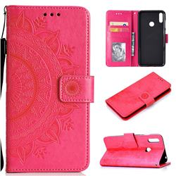 Intricate Embossing Datura Leather Wallet Case for Huawei Y7(2019) / Y7 Prime(2019) / Y7 Pro(2019) - Rose Red