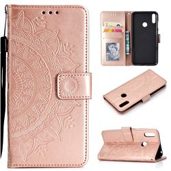Intricate Embossing Datura Leather Wallet Case for Huawei Y7(2019) / Y7 Prime(2019) / Y7 Pro(2019) - Rose Gold