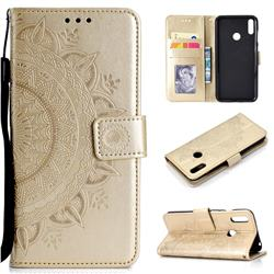Intricate Embossing Datura Leather Wallet Case for Huawei Y7(2019) / Y7 Prime(2019) / Y7 Pro(2019) - Golden