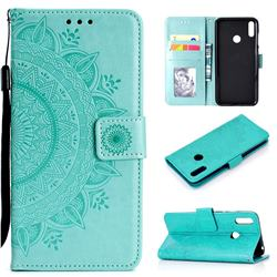 Intricate Embossing Datura Leather Wallet Case for Huawei Y7(2019) / Y7 Prime(2019) / Y7 Pro(2019) - Mint Green