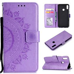 Intricate Embossing Datura Leather Wallet Case for Huawei Y7(2019) / Y7 Prime(2019) / Y7 Pro(2019) - Purple