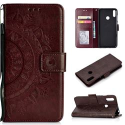 Intricate Embossing Datura Leather Wallet Case for Huawei Y7(2019) / Y7 Prime(2019) / Y7 Pro(2019) - Brown