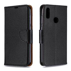 Classic Luxury Litchi Leather Phone Wallet Case for Huawei Y7(2019) / Y7 Prime(2019) / Y7 Pro(2019) - Black