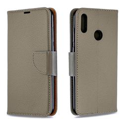 Classic Luxury Litchi Leather Phone Wallet Case for Huawei Y7(2019) / Y7 Prime(2019) / Y7 Pro(2019) - Gray