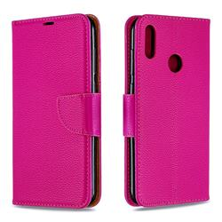 Classic Luxury Litchi Leather Phone Wallet Case for Huawei Y7(2019) / Y7 Prime(2019) / Y7 Pro(2019) - Rose
