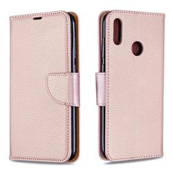 Classic Luxury Litchi Leather Phone Wallet Case for Huawei Y7(2019) / Y7 Prime(2019) / Y7 Pro(2019) - Golden